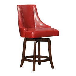 Homelegance - Homelegance Annabelle Swivel Counter Height Chair in Red - For the ultimate in casual dining options, the Annabelle collection is an answer for your contemporary vision. The fluted-base Pedestal table is offered in 42-inch height. Further lending itself as a flexible design options are the pub chairs in 29-inch height and Counter height chairs - offered in 4 colors: Brown, Cream, Green and Red.