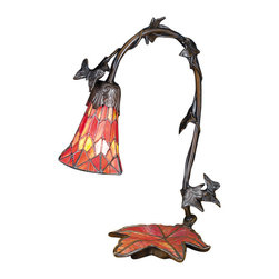 "Meyda - 15.5""H Maple Leaf W/Tiffany Mosaic Base Accent Lamp - A charming desk lamp with autumn rust red leaf veinedshade suspended from a gracefully curved leaf coveredarm that grows from a rust red glass mosaic maple leafbase hand finished in mahogany bronze. This tiffanystyle stained glass lamp brings the beauty of autumnleaves to your home. Bulb type: cndl bulb quantity: 1 bulb wattage: 15"