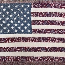 `Bandanna in the USA` Western Tapestry Throw Blanket 50 Inch X 60 Inch - This multicolored woven tapestry throw blanket is a wonderful addition to your home or cabin. Made of cotton, the blanket measures 50 inches wide, 60 inches long, and has approximately 1 1/2 inches of fringe around the border. The blanket features an American Flag print, with Western, bandanna style paisley through the stripes and blue field. Care instructions are to machine wash in cold water on a delicate cycle, tumble dry on low heat, wash with dark colors separately, and do not bleach. This comfy blanket makes a great housewarming gift that is sure to be loved.