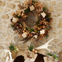 """Horchow - 28"""" Natural Wreath - Exclusively ours. This handcrafted wreath combines some of Mother Nature's loveliest elements to warmly welcome guests into your home. Made of leaves, pine cones, driftwood, pods, PVC, and burlap ribbon. 28""""Dia. x 9""""D. Imported."""