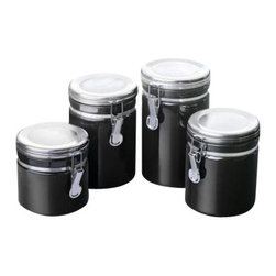 Anchor Hocking - Ceramic Canister Set 4 Pc. Black - Anchor Hocking 03922MR Home Collection 4 Pc. White Ceramic Clamp Top Canister Set with Chrome Lids - Gift Box