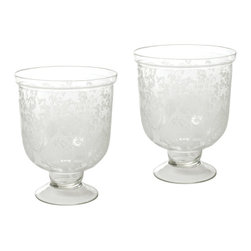 Go Home - Small Antique Etched Hurricanes- Set Of 4 - Small Antique Etched Hurricanes are graceful pieces with pleasingly unusual proportions, but they're classically shaped, making the most of a traditional look for creative freedom in arranging your decor.