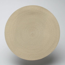 Tag Everyday - Round Woven Placemat in Natural - Set of 4 - Set of 4. Durable and virtually stain resistant. Wipe clean with damp cloth. Made from polypropylene plastic and cotton thread. 15 in. Dia.