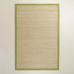 World Market - Green Bordered Chunky Woven Jute Rug - With a sophisticated green fabric border, our Green Bordered Chunky Woven Jute Rug looks at home in any décor setting. Handcrafted of renewable jute fibers, this exclusive rug features a chunky woven construction for a great underfoot feel.
