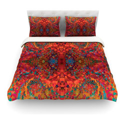 """Kess InHouse - Nikposium """"Red Sea"""" Orange Abstract Cotton Duvet Cover (Twin, 68"""" x 88"""") - Rest in comfort among this artistically inclined cotton blend duvet cover. This duvet cover is as light as a feather! You will be sure to be the envy of all of your guests with this aesthetically pleasing duvet. We highly recommend washing this as many times as you like as this material will not fade or lose comfort. Cotton blended, this duvet cover is not only beautiful and artistic but can be used year round with a duvet insert! Add our cotton shams to make your bed complete and looking stylish and artistic! Pillowcases not included."""