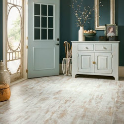 Armstrong Laminate Architectural Remnants Antique Structure in Milk Paint - The look of reclaimed wood flooring takes us places. To a cozy cabin. To a refurbished urban loft. To a rustic cottage.