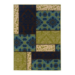 "Oriental Weavers - Indoor/Outdoor Caspian 3'7""x5'6"" Rectangle Brown-Blue Area Rug - The Caspian area rug Collection offers an affordable assortment of Indoor/Outdoor stylings. Caspian features a blend of natural Brown-Blue color. Machine Made of Polypropylene the Caspian Collection is an intriguing compliment to any decor."