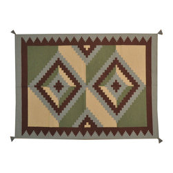 Navajo Design 100% Wool Flat Weave 5'x7' Reversible Hand Woven Rug SH16755 - Soumaks & Kilims are prominent Flat Woven Rugs.  Flat Woven Rugs are made by weaving wool onto a foundation of cotton warps on the loom.  The unique trait about these thin rugs is that they're reversible.  Pillows and Blankets can be made from Soumas & Kilims.