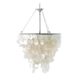 """Worlds Away - Worlds Away Capiz Shell Chandelier-Available in Two Different Sizes, Small - This lovely chandelier features capiz shells.  Both sizes come with 3 feet of chrome chain and canopy and come with everything needed for a hard wired installation. The smaller one measures 33"""" h x 18"""" in diameter and the capiz portion alone is 21""""H and takes a single 60 watt max bulb. The larger chandelier measures 48"""" from the top of the frame to the bottom of the shells and is 30"""" in diameter and takes two 40 watt max bulbs."""