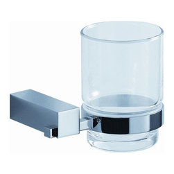 Fresca - Fresca Ottimo Glass Tumbler Toothbrush Holder - Wall Model - All our bathroom accessories are imported and are selected for their modern, cutting edge designs. All accessories are made with brass with a quadruple chrome finish. All our accessories have been chosen to complement our other line of products including our vanities, steam showers, whirlpools, and toilets.