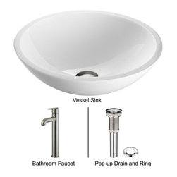 Vigo - Vigo Phoenix Stone Glass Round Flat Edged Vessel Sink with Faucet Set (VGT211) - Vigo VGT211 Phoenix Stone Glass Round Flat Edged Vessel Sink with Faucet Set, White and Brushed Nickel