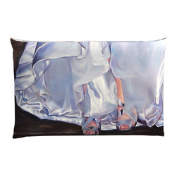 """Denise H. Cooperman - Belgium Linen Pillow - """"Mrs Beetose"""" Luxurious Belgium Linen Pillow. Museum quality Nano print on Imported Belgium Linen. Fully inner lined with a down combo fill and zipper. Dry Clean only. Truly elegant pillow with an image from the original oil painting """"Mrs Beetose"""". Each pillow is custom made to order. Typically there is one in stock but allow 4-6 weeks production if stock item is sold. This is part of the wedding series collection. The Original, Giclees, and Limited Edition Prints are also available."""