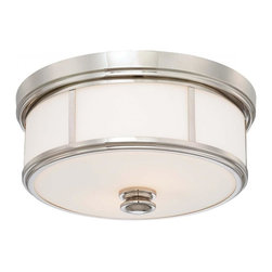 Minka-Lavery - Minka-Lavery Flush Mounts 2-Light Flush Mount - 4365-613 - This 2-Light drum shade flush mount has a nickel finish.