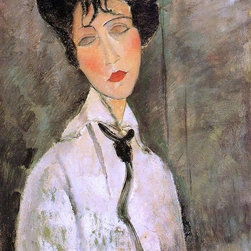 """Modigliani Portrait of a Woman in a Black Tie - 18"""" x 24""""  Print - 18"""" x 24"""" Amedeo Modigliani Portrait of a Woman in a Black Tie premium archival print reproduced to meet museum quality standards. Our museum quality archival prints are produced using high-precision print technology for a more accurate reproduction printed on high quality, heavyweight matte presentation paper with fade-resistant, archival inks. Our progressive business model allows us to offer works of art to you at the best wholesale pricing, significantly less than art gallery prices, affordable to all. This line of artwork is produced with extra white border space (if you choose to have it framed, for your framer to work with to frame properly or utilize a larger mat and/or frame).  We present a comprehensive collection of exceptional art reproductions byAmedeo Modigliani."""