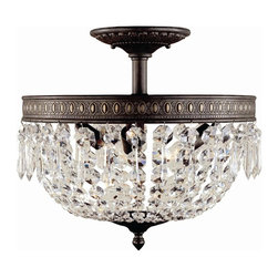 World Imports - Crystal Elegance 3 Light Flush Mount Fixture - Manufacturer SKU: WI237306. Ceiling mount only. Bulbs not included. Solid brass with faceted fire molded crystals that are hand-polished. Crystal Elegance Collection. 3 Lights. Power: 60w. Type of bulb: Candelabra. Flemish finish. Canopy 6.5 D. 16 in. D x 14 in. H (14 lbs.)Timeless for any home and any room of the home. Surprise your guest with a crystal close to ceiling fixture in their closet or bathroom. The perfect size to dress up any room of the home and to be used in multiple rooms to transition from room to room.