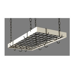 Rogar - Grid Pot Rack in Classic Black and White Hook - Color: White/BrassEven more space to utilize. Lids can be placed on top of grid. Includes 8 regular and 4 grid hooks. Classic Black and White. 30 in. L x 15 in. W x 2 in. H (12 lbs.)