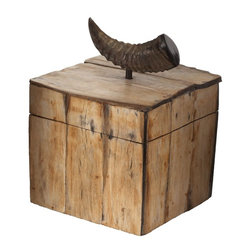 Lazy Susan - Lazy Susan LZS-344062 Burnt Horn Slab Box - Your treasures deserve to be treasured. This box is a special and unusual receptacle. Placed on a desk in your office or displayed on a console table, it's an accessory that serves a purpose.