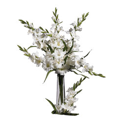 "Nearly Natural - 36"" Gladiola Stem (Set of 12) - A member of the Iris family, and sometimes referred to as a Sword Lily, this three foot Gladiolas features soft, bulbous blooms that burst forth from their feathery green stems. One of the most delicate-looking flowers, a group of these set in a vase will bring warmth to any area they occupy. Best of all, they�ll never need water, and their gentle delicacy will last a lifetime. Sold as a set of 12."