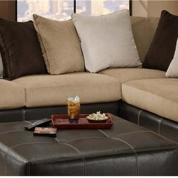 Chelsea Home - 2-Pc Amherst Sectional Set - Includes right arm facing chaise and left arm facing sofa with toss pillows. Ottoman not included. Medium seating comfort. Reversible seat cushion. Nailed, stapled and corner blocked frame. Cover: San Marino mocha/martin coffee/martin chocolate/martin cream. Fabric content: 78% poly vinyl chloride, 2% polyurethane, 20% TC backing/100% polyester. 1.8 dacron wrapped foam cores with outside padding on arms and back for added comfort. Constructed with sinuous springs to provide no sag seating. Made from solid hardwoods and plywoods. Made in USA. No assembly required. Chaise: 91 in. L x 38 in. W x 38 in. H (175 lbs.). Sofa: 81 in. L x 38 in. W x 38 in. H (125 lbs.). Overall: 119 in. - 91 in. L x 38 in. W x 38 in. H (300 lbs.)