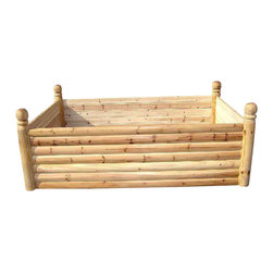 Master Garden Products - Cedar Log Wood Raised Bed, 6 Posts, 4'w X 6'l X 2'h - Our white cedar wood Log wood raised bed is our newest addition to our raised bed kits. It is constructed of  round and  half round cedar wood . The 3.5 diameter round log posts have a ball finial built into it.