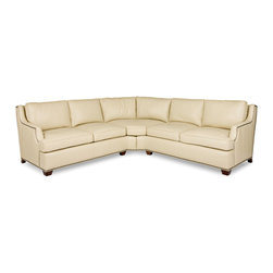 "Randall Allan - Lexie Sectional - Doesn't this sofa tickle your ivories? It's a large sectional ""L"" shape, perfect to maximize seating in your space. Designed with a slim, sloped arm and accented by nailhead trim, it will certainly strike a more dainty and traditional chord. In ivory-colored leather, it's worthy of an encore."