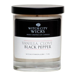 Witch City Wicks - Vanilla + Clove Black + Pepper Soy Candle - Vanilla and black pepper make this Witch City Wicks soy-wax candle the perfect combination of sugar and spice.