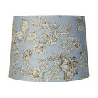 "Lamps Plus - Country - Cottage Blue Vintage Chic Floral Drum Shade 13x15x11 (Spider) - With the gorgeous look of transferware china this blue shabby chic drum shade has an updated contemporary feel. Wrapped in a cotton poly blend fabric the light floral motif comes outlined in brown and stands out against the light blue background. Chrome finish spider fitter for easy installation. The correct size harp is included with this purchase. Floral drum shade. Blue and brown hues. Updated shabby chic style. Cotton poly blend fabric. Unlined. Rolled edge. Chrome finish spider fitter. 13"" across the top. 15"" across the bottom. 11"" on the slant.  Floral drum shade.   Blue and brown hues.   Updated vintage chic style.   Cotton poly blend fabric.   Unlined.   Rolled edge.   Chrome finish spider fitter.   13"" across the top.   15"" across the bottom.   11"" on the slant."