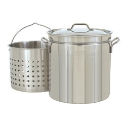 """Barbour International - Bayou Classic 24-Quart Stainless Steel Stockpot - Bayou Classic Stainless Steel 24-quart Stockpot with Lid and Basket is the perfect addition to any cooking environment indoors or outdoors! The Steam-Boil-Fry Stockpot has an indentation that raises the basket 2-3 inches above the bottom for steaming or boiling. Use the basket to deep fry chicken fish or hushpuppies; steaming or boiling seafood clams and vegetables. Use without basket to boil soups stews gumbo jambalaya and low country boil. Stockpot is 12.5"""" deep x 11.75"""" high."""