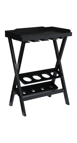 Acorra Wine Table Black - Treat yourself and your guests with the multi-functional Acorra wine table. The simple tray table design is a sleek look that allows for the storage of four bottles of your favorite wine, and eight to ten glasses when it's time to pour. The versatile tray top is perfect for serving cheese or dessert and it lifts off for easy service among your guests. A crisp black finish and versatile design makes this wine table a winner for the modern host and hostess.