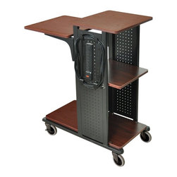 H. Wilson - Boardroom Presentation Cart w Casters - Includes 7 outlets 25 ft. electric cord. Heavy duty 4 in. casters. Two casters with locking brakes. Four gray laminate work surfaces. Steel frame. Black powder coat paint finish. Adjustable second shelf from 33 upto 41 in. H. Side shelf can be mounted at 31.5, 35.5 or 39.5 in. H. Made from wood and steel. Black and cherry finish. Minimal assembly required. Top shelf: 16 in. L x 18 in. W. Adjustable shelf: 18 in. L x 18 in. W. Middle shelf: 15 in. L x 15 in. W. Bottom shelf: 30.5 in. L x 15 in. W. Modesty panel: 18 in. L x 16.5 in. W. Overall: 34.5 in. L x 18.25 in. W x 41 in. H. Warranty. Parts List