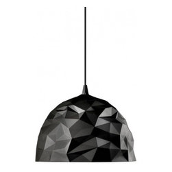 """Diesel - Rock Pendant Lamp - Product Details:     The Rockpendant lamp has been designed by Diesel in 2009 and made in Italy by Foscarini. Rock is an interplay of surprises and contrasts. Mysterious and severe outside, diamond-bright and iridescent inside. Outside, the dark version is rough with a scattering of golden motes, whilst inside, it shimmers, smooth and mother of pearl-covered. Like a volcanic rock that when it breaks apart reveals a jewel within, Rock is an interplay of surprises and contrasts.  Details:                                              Manufacturer:                                           Diesel by Foscarini                                                              Designer:                                          Foscarini                                                              Made in:                                          Italy                                                              Dimensions:                                           H: 14 7/8"""" (38 cm) X D: 19 9/16"""" (50 cm) overall H:78 3/4"""" (200 cm)                                                              Light bulb:                                           1 X 23W E26medium Fluorescent                                                              Material:                                           Polycarbonate and Lacquered metal"""