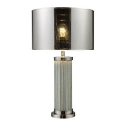 """Dimond - Mont Alto Table Lamp by Dimond - Take transitional decor to its highest peak with the Dimond Mont Alto Table Lamp. Finished in Chrome, the base also features a unique column of mirrored glass, which capture and reflect the light from above. Light also peeks outward through the transparent sections of the otherwise chromed drum shade. From their headquarters in Nesquehoning, PA, Dimond Lighting creates lighting fixtures that truly become """"Jewelry for the Home."""" Their numerous lighting collections are made with distinctive quality, value and exquisite detailing that will enhance the decor of any home. Dimond Lighting is a division of ELK Lighting."""
