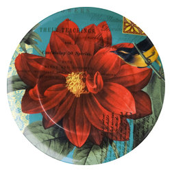 Waechtersbach - Impressions Set of 4 Plates Impressions Dahlia in Red - Birds and dahlias form an enchanting alliance in this colorful set of four plates. Crafted from dishwasher-safe porcelain, they would make a colorful addition to your breakfast, brunch or luncheon table.