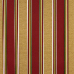 Red Green And Gold Striped Indoor Outdoor Marine Upholstery Fabric By The Yard - This upholstery grade fabric can be used for all indoor and outdoor applications. It is Scotchgarded, and is mildew, fade, water, and bacteria resistant. This fabric is made in America!