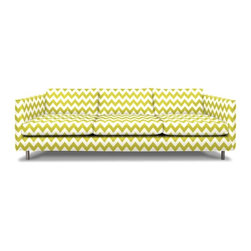 "Topanga Sofa, Limitless Linden - Chevrons remain an ""it"" pattern of the moment, and this sofa highlights them. Available in many other prints, the piece has a square, modern style that makes the perfect minimalist canvas for the pattern of your choosing."
