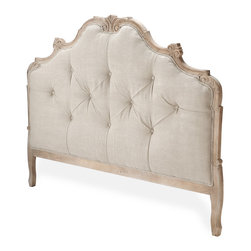 Kathy Kuo Home - Julianna Natural Oak French Country Queen Headboard - Perfect for lazy Sunday mornings, this amply padded headboard invites you to lounge just a little bit longer. Button-tufted linen provides the perfect counterpoint to the curved lines of the dark limed oak frame, for a look that's at once elegant and refined.