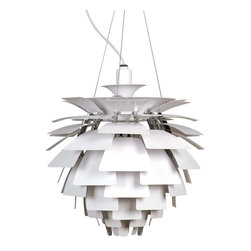 """White Artichoke Lamp By Stilnovo - Twelve vertical aluminum arches surround the center column of this Artichoke lamp. To these are attached thin aluminum panels that are curled downwards with curves appropriate to their placement. The luminaire has a profile reminiscent of an artichoke. These panels shield the light source yet redirect and reflect the light from three E26 100W bulbs (not included) onto the underlying leaves. Illumination is gentle but effective. """""""