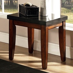 Steve Silver Co. - Granite Bello Collection End Table w Black Gr - Black granite top. Multi-step Cherry finish. Contemporary style. Corner block construction. Tongue and groove joints. Select hardwood solids material. Some assembly required. 24 in. L x 22 in. W x 24 in. H (60 lbs.)