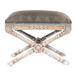 X-Ottoman with Curved Legs and Silver Finish - Slam dunk into fabulosity with this glamour puss! Carved, curved, silvery, and x-shaped.  This ottoman nods - or better yet, bats her eyelashes - to Gustavian style. Super for a dressing table and also would be great occasional seating in a living room!