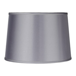 """Lamps Plus - Contemporary Sydnee Satin Light Gray Drum Lamp Shade 14x16x11 (Spider) - This light gray drum lamp shade is a great way to add a fresh look to your home. Lustrous satin is paired with a detailed silver gray trim and matching liner for a delightfully dynamic design. Perfectly versatile this chic shade complements any style of home decor. And with the convenient chrome spider fitter it's easy to dress up your favorite lamps with color and sophistication. The correct size harp comes free with this purchase. From the Sydnee Collection. Light gray satin drum shade. Silver gray trim and liner. Chrome finish spider fitter. 14"""" across the top. 16"""" across the bottom. 11"""" on the slant. 11"""" high.  Light gray satin drum shade.  Silver gray trim and liner.  Chrome finish spider fitter.  14"""" across the top.  16"""" across the bottom.  11"""" on the slant.  11"""" high."""