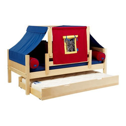 Maxtrix - Yo Panel Boy Tent Daybed - MXTX207 - Shop for Daybeds from Hayneedle.com! Make bedtime fun with the Yo Panel Boy Tent Daybed. Crafted from premium solid birch hardwood and available in your choice of non-toxic finishes this bed includes a tent that goes over the bed creating a fun and private play area for your child. The slat roll removes the need for a bunkie board and you have the option of storage drawers or a trundle. This bed is also includes an extra-tall guardrail and meets or exceeds ASTM standards.Additional FeaturesSolid paneled endsExtra-tall guardrail is includedMeets or exceeds ASTM standardsWe take your family's safety seriously. That's why all of our bunk beds come with a bunkie board slat pack or metal grid support system. These provide complete mattress support and secure the mattress within the bunk bed frame. Please note: Bunk beds and loft beds are only to be used by children 6 years of age or older.