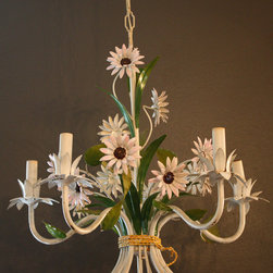 Italian Tole Floral Flower Chandelier 1940s Gorgeous - The dainty flowers on this Italian tole chandelier are perfect.
