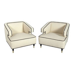 ecofirstart - Pair of Substantial Modern Lounge Chairs with Great Lines - Pair of Substantial Modern Lounge Chairs with Great Lines, American, resembling circa 1950's. They are upholstered in an ivory boucle fabric with dark brown velvet trim and the legs finished in an ultra-deep brown color lacquer. Brass front feet hand polished and lacquered.