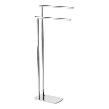 Gedy - Floor Standing Chrome Double Towel Rack - Need a towel holder? This one is a floor standing contemporary free standing towel bar that will fit perfectly into your contemporary master bathroom.