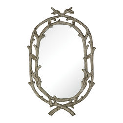 Sterling Industries - Brampton-Silver Leaf Wrapped Branch Mirror - The Brampton Mirror has a wonderful design that is enhanced by the natural looking wood style frame.  This frame is made of a cast resin and has a wonderful antiqued silver leaf finish.  A beautiful piece for any environment.