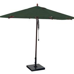 Greencorner - 11' Octagon Mahogany Umbrella, Forest Green - 11' Octagon