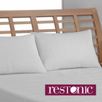 RESTONIC - Restonic Peva Waterproof Bed Pillow Protector (Set of 2) - This luxurious, soft-hand, 240 thread count pillow protector from Restonic is made with poly nylon fabric with silver corded edges. The protector features Clean & Fresh odor protection.