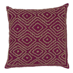 "Surya LD032-2020D 100% Linen w/ Cotton Detail 20"" x 20"" Decorative Pillow - Raised pattern makes this textured pillow stand out. This pillow has a down fill and a zipper closure. Made in India with one hundred percent Linen and cotton detail, this pillow is durable and priced right. Filler: Down Feathers. Shape: Square"