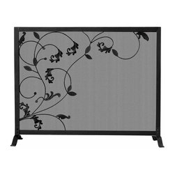 Uniflame - Single Panel Footed Fireplace Screen w Leafy - Add an elegant appearance to your hearth with this high quality, long lasting fireplace screen. A flowing leaf and vine motif shows exceptional attention to detail, and adds ambiance when fronted by a glowing fire. Curved legs offer excellent stability and extra safety. Flowing Leaf Design. Black Finish. 39 in. W x 31 in. H (19 lbs.)