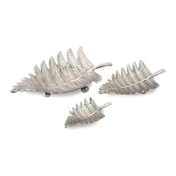 """IMAX CORPORATION - Lace Fern Aluminum Trays- Set of 3 - Set of three, lace fern detail trays, set offers large, medium and small, perfect for display or for a simple and elegant table centerpiece. Comes in various sizes measuring around 18.5""""L x 13.5""""W x 17""""H each. Shop home furnishings, decor, and accessories from Posh Urban Furnishings. Beautiful, stylish furniture and decor that will brighten your home instantly. Shop modern, traditional, vintage, and world designs."""